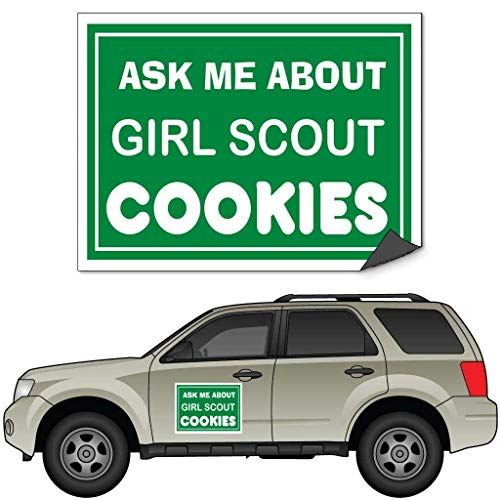 (VictoryStore Car Door Magnet: Ask Me About Girl Scout Cookies Car Door Magnets - Set of 2 - Color 18