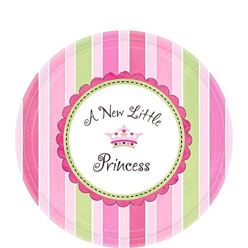Amscan Pretty Little Princess Baby Shower Party Supply Dessert Paper Plates, 7'', Pink/Green/Purple
