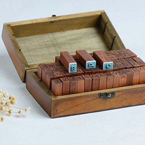 Home-organizer Tech 70pcs Vintage Wooden Alphabet Stamps Rubber Letter Number And Symbol Stamp Set