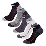 Aaronano 5 Pairs Men Half Cushioned Terry Athletic Running Socks Size(5.5-11 UK/38-46 EU), Low Cut Socks(a), One Size