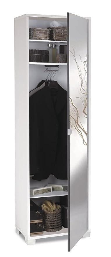 Specchiera Porta Abiti.Mobile Porta Abiti In Bianco Fiammato Con 1 Anta In Specchio Effetto