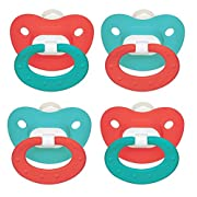 NUK Puller Silicone Pacifier, 2 Pack, 6-18 Months (Teal/Coral)