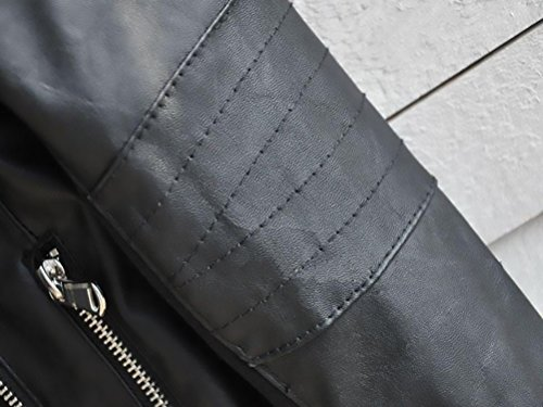 Inverno Lunga Calda Vintage Pu Risvolto Pelle Zip Giacca Moto Nero Giubbino Giubbotto Manica Corto Con In Giacche Donna Casual Autunno 14OR4n85