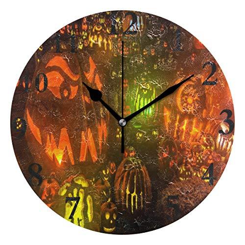 Ladninag Wall Clock HD Halloween Background Silent Non Ticking Decorative Round Digital Clocks for Home/Office/School -