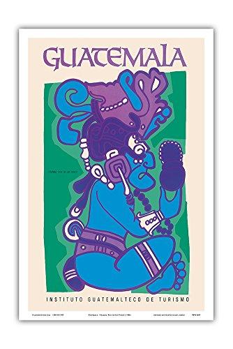 (Guatemala - Itzamna, Dios de Los Cielos (God of The Heavens) - Mayan God - Vintage World Travel Poster c.1980s - Master Art Print - 12in x 18in)