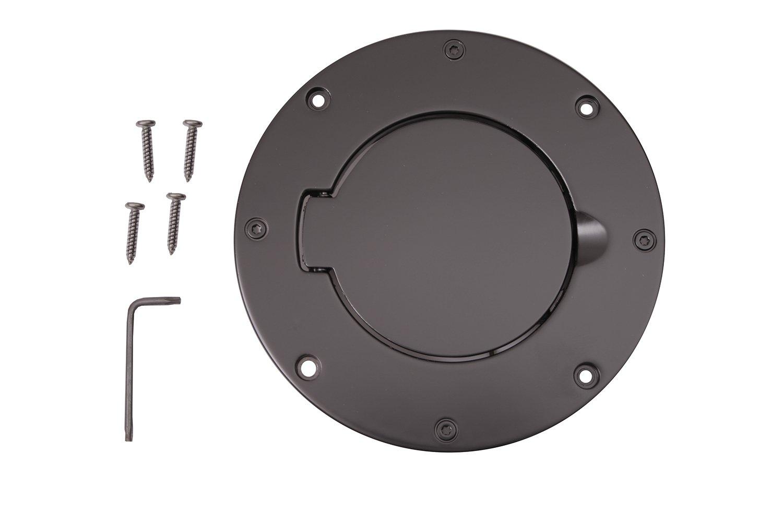 Rugged Ridge 11425.02 Billet Style Black Aluminum Gas Door Cover