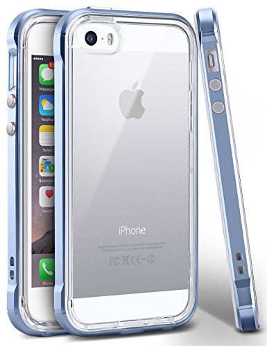 iPhone SE Case, Ansiwee Reinforced PC Frame & Highly Durable Crystal Slim Shock-Absorption Flexible Soft Rubber TPU Bumper Hybrid Protective Case for Apple iPhone SE/iPhone 5s & 5 (Blue)