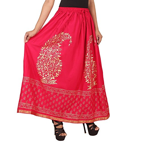 Red Printed Rayon Long Skirt for Women/Girls