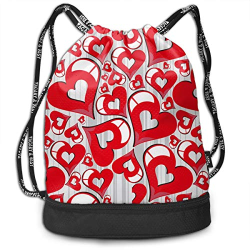 Men & Women Premium Polyester Drawstring Sack Red Hearts Love Rucksack Theft Proof Lightweight For Traveling Soccer Baseball Bag Large For Camping, Yoga Runner -