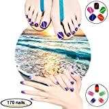 Shiny Summer Gel Nail Art Stickers Strips Gift Pack for Fake Nails Women Girls Kids, VIWIEU Glitter False Full Toenail Wraps Tips DIY Manicure and Pedicure Nail Beauty Set