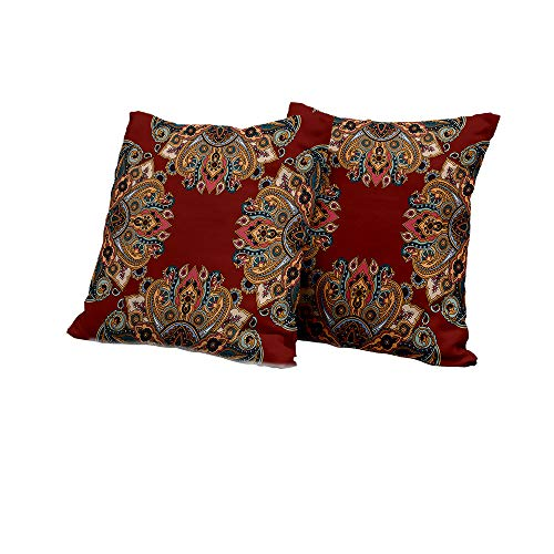(All of better Chaise Lounge Cushion Cover Maroon,Oriental Traditional Paisley Pattern Mandala Inspired Round Authentic Boho Folk Hues,Multicolor Double-Sided Printing Pillowcase 16x16 INCH 2pcs )