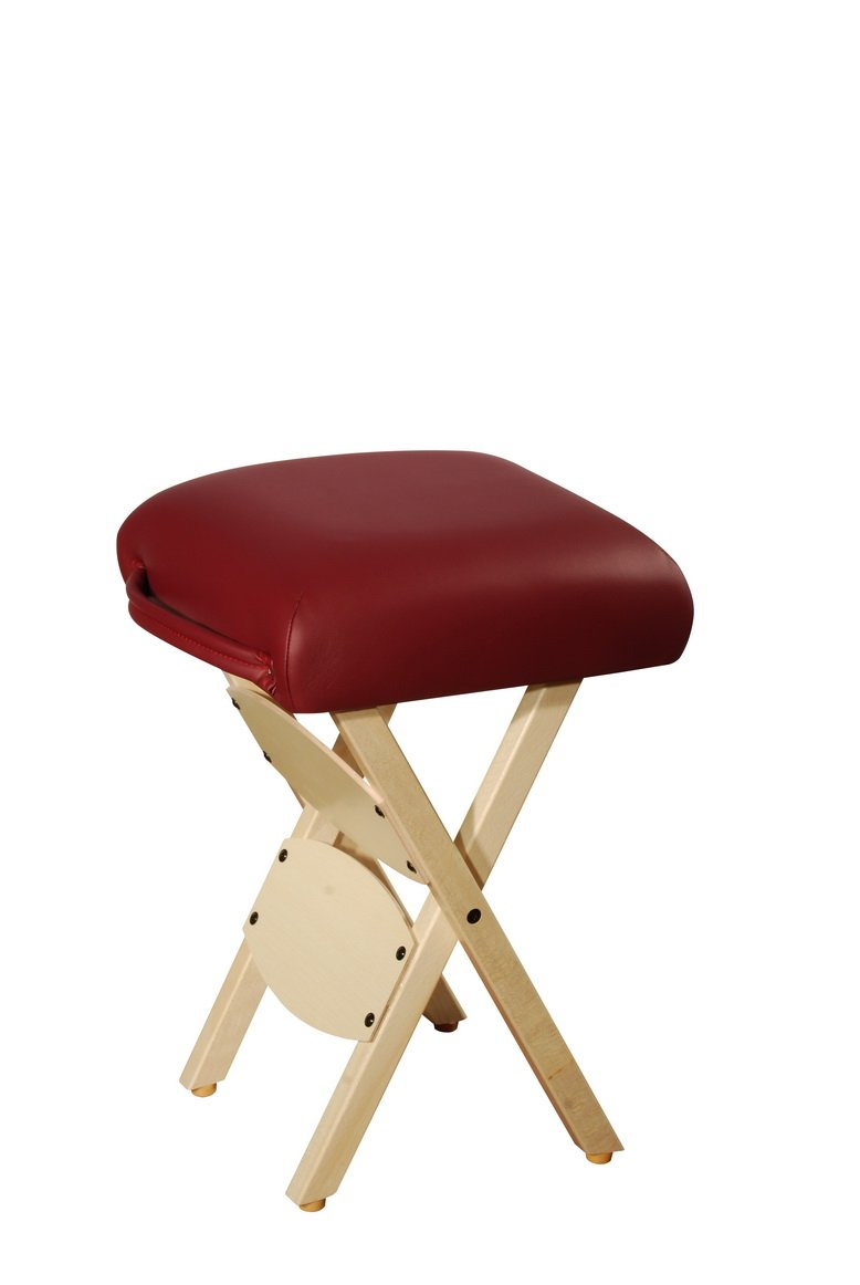 Master Massage Tables Lightweight Wooden Handy Folding Massage Stool, Burgundy