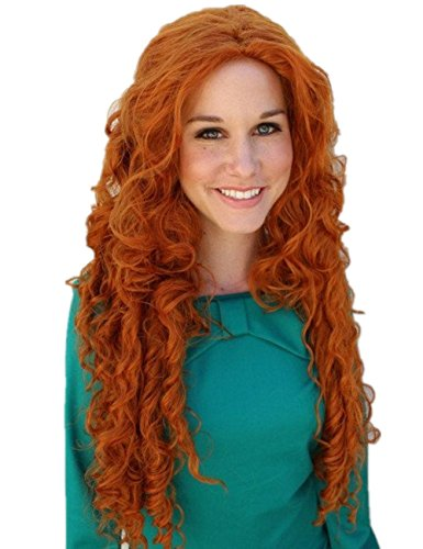 [Women Child Long Curly Fiber Cosplay Full Wig Halloween Party Hair Orange 30inch] (Merida Costume For Adults)