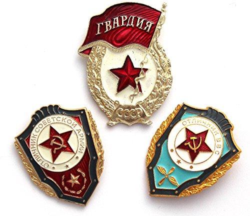 Soviet, USSR ORIGINAL Set of 3 Military Pins Police Cold War Era KGB.