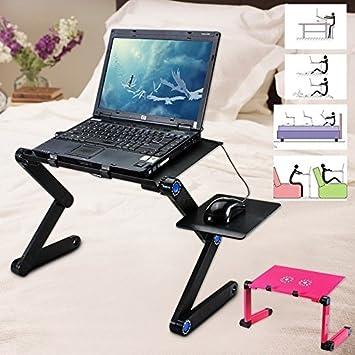 Portátil 360 ° ajustable soporte de mesa ordenador portátil bandeja escritorio negro/rosa para sofá cama alfombra CÉSPED rosa: Amazon.es: Electrónica