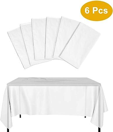 Kbnian 6 PCS 274x137CM Nappe Jetable Épaissie Imperméable en Plastic  Blanche Translucide Table Rectangulaire Table de Jardin Extérieure pour  Banquet ...