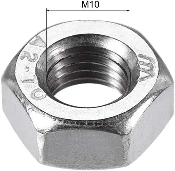 sourcing map 4 piezas M10 x 1,25 mm Paso m/étrico Rosca fina 304 Tuercas hexagonales de acero inoxidable