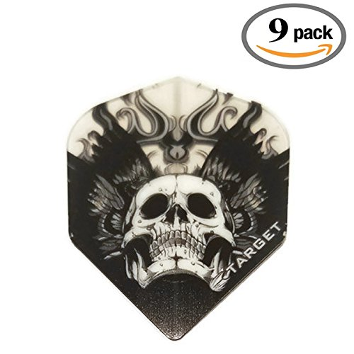 Target 9 Pack Black Translucent Flaming Winged Ghost Skull 100 Micron Extra Strong Standard Dart Flights by Target