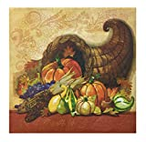Thanksgiving Cornucopia Decorative Large Buffet Dinner Napkins for Your Holiday Party - 2 Ply 16x16 (40 count)