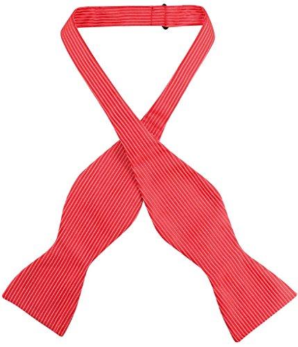 Antonio Ricci SELF TIE Bow Tie Solid RED Color Ribbed Pattern Men's BowTie