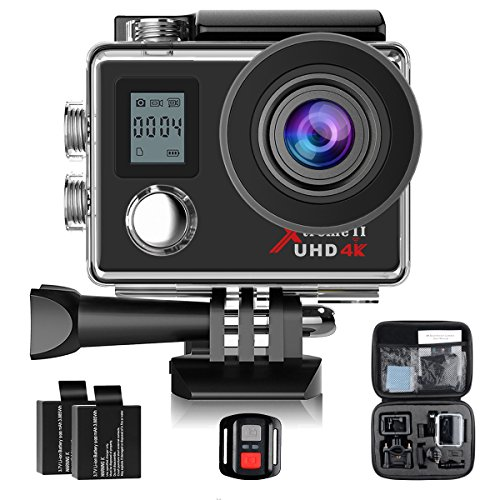 Campark ACT76 Action Camera 4K Ultra HD WiFi Waterproof DV Camcorder Sports Cam with Wireless Remote Control and 2 Pcs Rechargeable Batteries