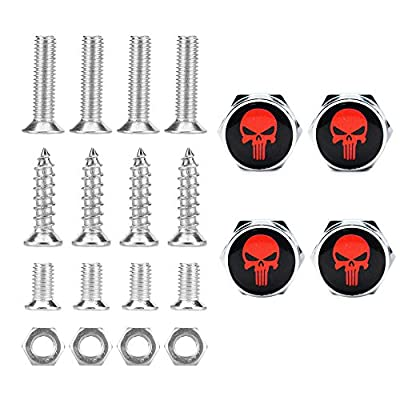 Dsycar Chrome Metal Skull Logo Anti-Theft Car License Plate Bolts Frame Screws- Gift 4 Free Skull Logo Tire Valve Stem Caps (Silver-Red): Automotive