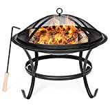 Best Choice Products 22in Outdoor Patio Steel BBQ Grill Fire Pit Bowl for Backyard, Camping, Picnic, Bonfire, Garden w/Spark Screen Cover, Log Grate, Poker - Black
