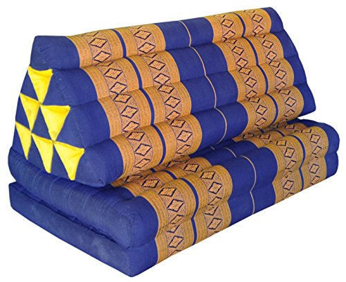 Thai triangle cushion XXL, with 2 folding seats, blue/yellow, sofa, relaxation, beach, pool, meditation, yoga, made in Thailand. (82117) by Wilai GmbH
