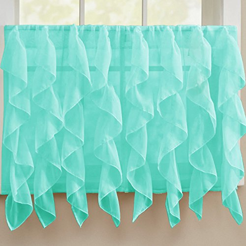 Mariposa Curtain (Sheer Voile Vertical Ruffle Window Kitchen Curtain Tiers or Valance Sea 24