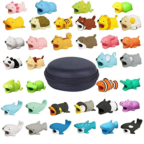 Inverlee New 2018 Cable Bite for iPhone Cable Cord Cute Animal Cable Protects Saver Phone Accessory (36Pcs+Storage Bag)