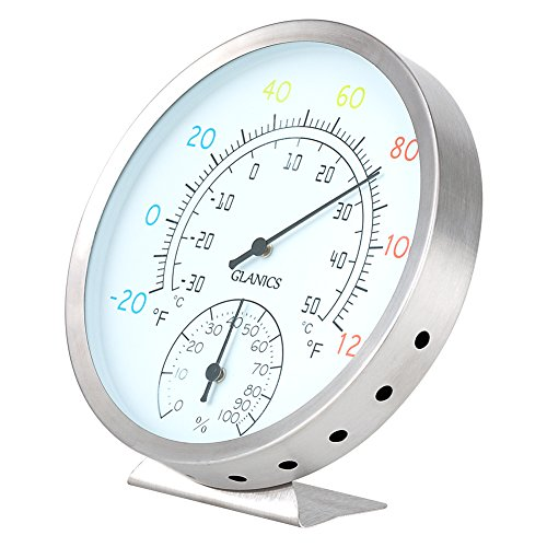 GLANICS Stainless Steel Indoor Outdoor Thermometer/Hygrometer, Wireless Decorative Wall Thermometer for Outside, Patio or Room by GLANICS