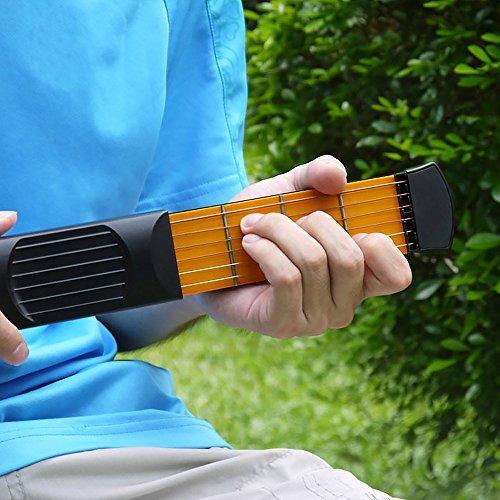 COWEEN Guitar 6 Fret Pocket Guitar for beginners Practice Tool Gadget Guitar Chord Trainer 6 Fret Black