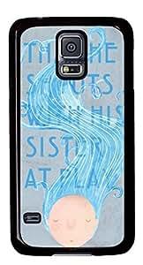 Abstract Blue Hair DIY Hard Shell Black Best Designed Samsung Galaxy S5 I9600 Case