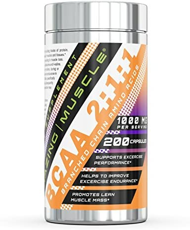 Amazing Muscle BCAA 2 1 1-1000 Mg, 200 Capsules – Supports Exercise Performance – Helps to Improve Excercise Endurance – Promotes Lean Muscle Mass