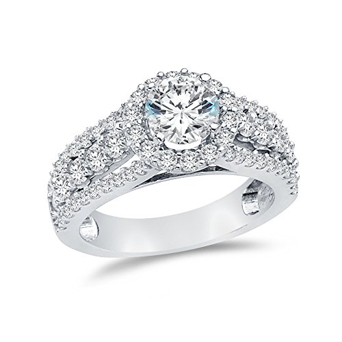 Size - 6 - Jewel Tie Solid 14k White Gold Cubic Zirconia CZ Round Engagement Ring (1.25ct. Center Stone) ()