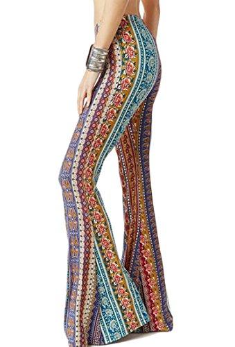 WSPLYSPJY Women's Print Stretch Bell Bottom Flare Palazzo Pants Trousers 1 XS