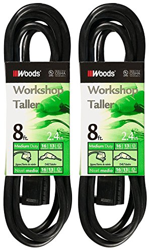 2-Pack - Woods 0260 - 8 Foot General Purpose Black Extension Cords - 16/3 SJTW by Woods