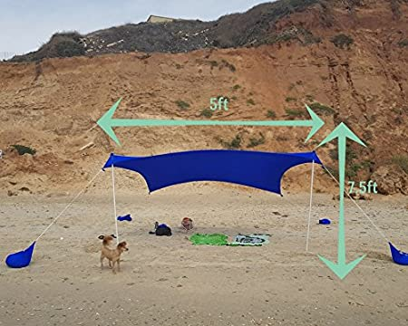 Wind Resistant Design UPF50+ Quality Sturdy Lycra Quick and Easy Pop Up Lightweight and Portable Sandbag Anchors Set-up OTENTIK CopaShade Beach Sunshade Tent UV Sun Rays Protection Fabric