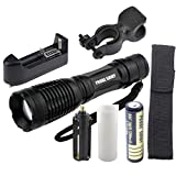 LandFox 5000LM XM-L T6 LED Tactical Zoomable Flashlight Torch Light Lamp+18650 Bettary+ Charger