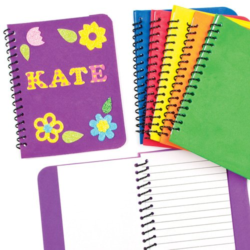 Baker Ross Foam Spiral Bound Notebook 30 Pages Assorted Colors for Children to Decorate & Personalise (Pack of 6) ()