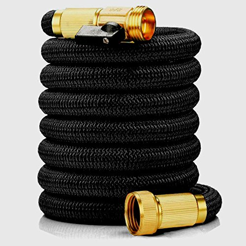 Coiled Hose (Podura Garden Hose 25Ft Leakproof Lightweight Expandable Water Hose Durable Double Latex Core 3/4 Solid Brass Fittings,Free Nozzle for Car Washing,Garden Watering, Pets Showering)