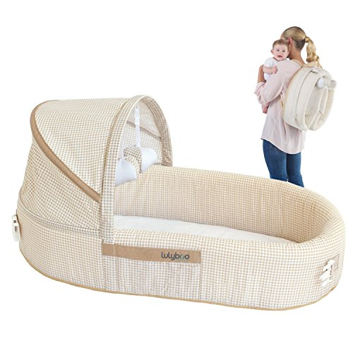 LulyBoo Baby Lounge To Go - Portable Infant Bed Folds Into Backpack - With Activity Bar And Rattle Toys (Beige)