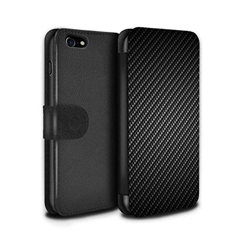 llet Flip Case/Cover for Apple iPhone 7 / Grey Design / Carbon Fibre Effect/Pattern Collection (Carbon Fibre Effect)