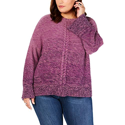 Style & Co. Women's Plus Size Ombre Braided Trim Sweater Purple Size 2X