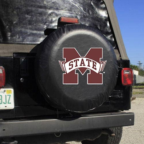 NCAA Mississippi State Black Spare Tire Cover, One Size, Multicolor by Fremont Die