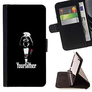 KingStore / Leather Etui en cuir / Sony Xperia M2 / Yourfather Estrella Guerra Darth Vade