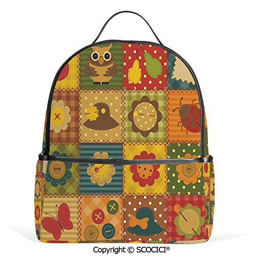 - Casual Fashion Backpack Cute Nature Themed Figures Owl Ladybug Flower Hat Patchwork Image,Multicolor,Mini Daypack for Women & Girls