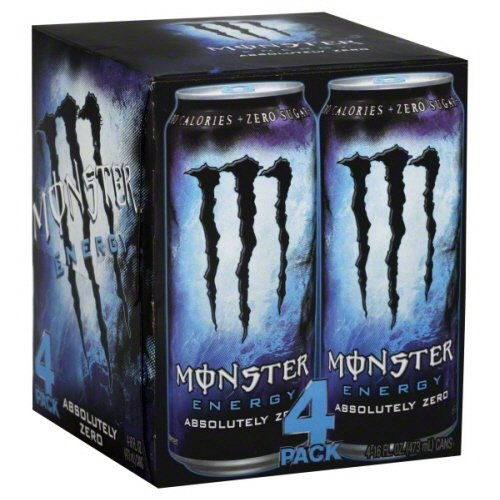 Hansen's Monster Energy Drink, Absolutely Zero, 16-Ounce (Pack of 4)