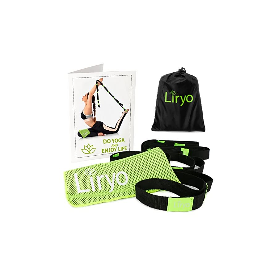 Liryo Yoga Strap with Loops Include Cooling Towel, Exercise Poster, e Book & Carry Bag