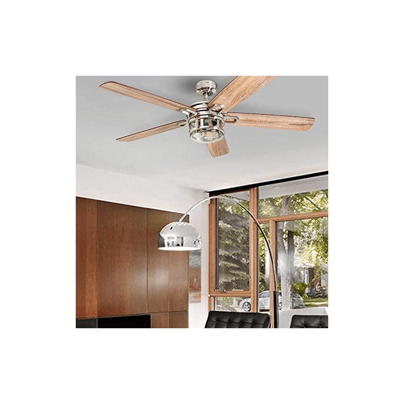 """Honeywell Ceiling Fans 50610-01 Bonterra Ceiling Fan with Remote Control, Rustic LED Edison Light Fixture, 52"""" Indoor Farmhouse Ancient Pine/Bamboo Blades, Brushed Nickel"""